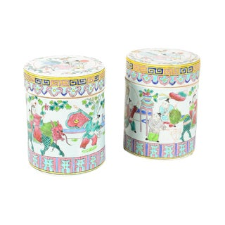 Chinese Antique Porcelain Candy Boxes - A Pair
