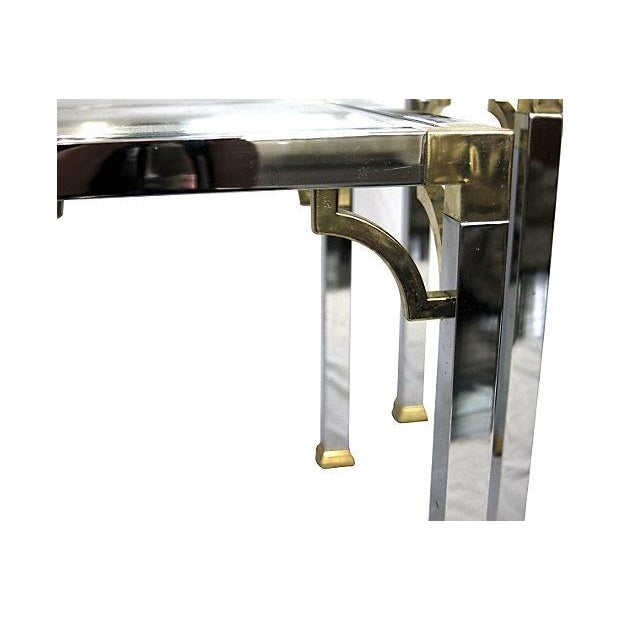 Image of Chrome & Brass Side Tables - Pair