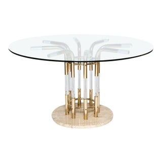 1970s Brass, Lucite, & Travertine Round Dining Table