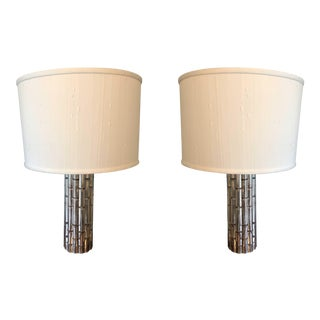 Chrome Bamboo Lamps With Shades - a Pair