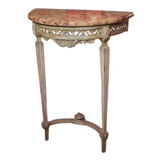 Gray/Green Painted Louis XVI Demi Lune Console