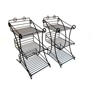 Mid-Century Modern Metal 3-Tiered Wire Indoor/Outdoor Plant Stand - Pair