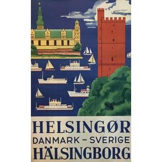 1947 Vintage Denmark-Sweden Travel Poster