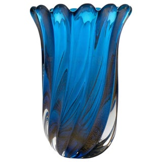Murano Cobalt Blue Glass Vase