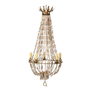 Italian Wooden Bead and Steel Chandelier
