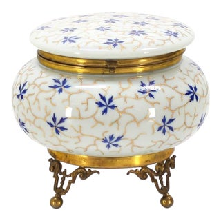 Large Enameled Painted Floral Pattern Art Glass Round Dresser Box