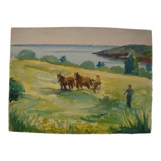 Farm Landscape Watercolor Painting by Prescott Mike Jones, 1937