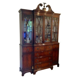 2 Piece Federal Chippendale Crotch Mahogany Secretary China Cabinet