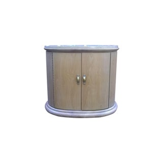 Art Deco Modern Wood Travertine Cabinets - A Pair