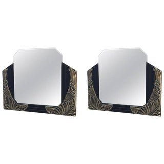 French Art Deco Black Lacquer and White Gold Mirrors - A Pair