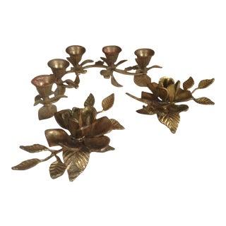 Vintage Brass Floral Candle Holders - Set of 3
