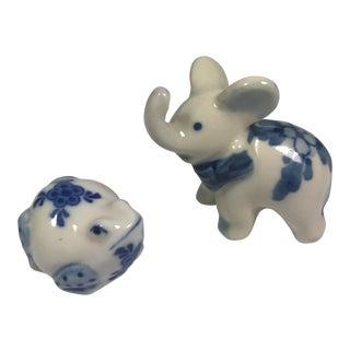 Blue & White Porcelain Animal Figurines - A Pair