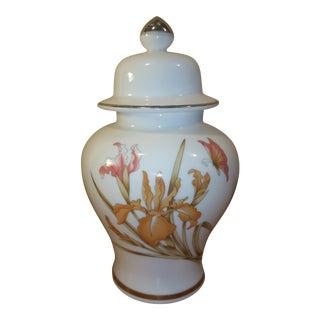 White Asian Floral Ginger Jar