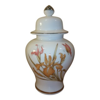 White Asian Floral Ginger Jar