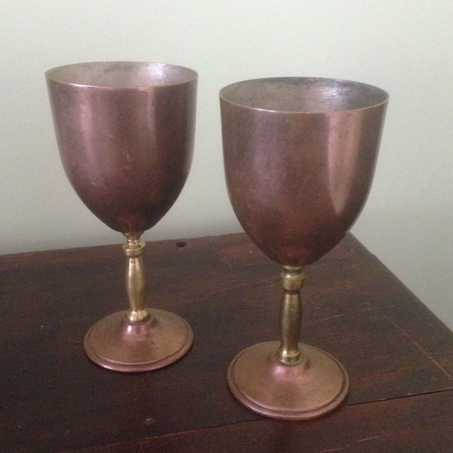 Image of Copper & Brass Goblets - a Pair