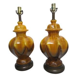 Midcentury Drip Glaze Lamps - Pair
