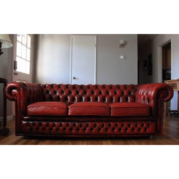 Vintage Oxblood Red Leather Chesterfield Sofa Chairish