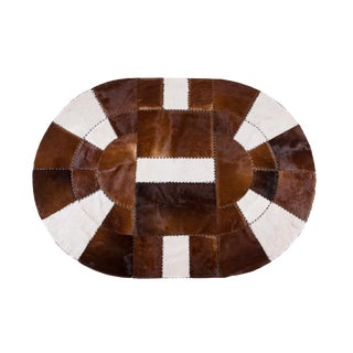 """Cowhide Patchwork Area Oval Rug - 7'2"""" x 5'2"""""""