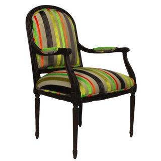Louis XVI Style Neon Velvet Striped Upholstered Chair