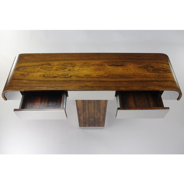 Rosewood & Chrome Pedestal Console - Image 7 of 11