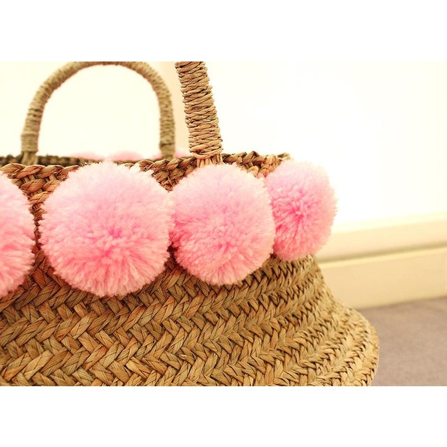 Pink Double Woven Sea Grass Belly Basket - Image 4 of 7