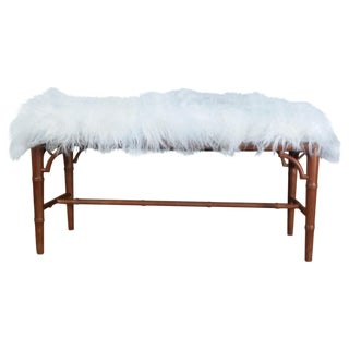 Mongolian Sheep & Faux-Bamboo Bench