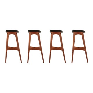 Johannes Andersen Danish Mid Century Teak Bar Stools - Set of 4