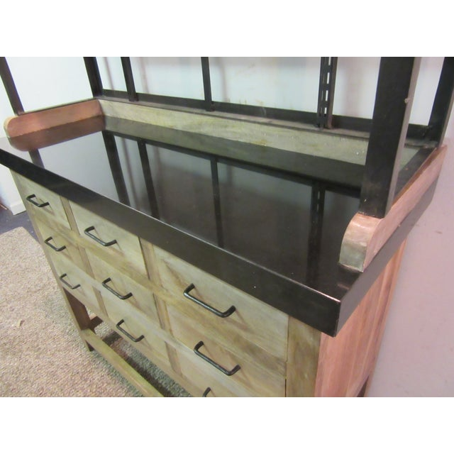 Image of Inudstrial Back Hutch & Stone Type Top