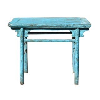 Chinese Rustic Distressed Wood Blue Side Table