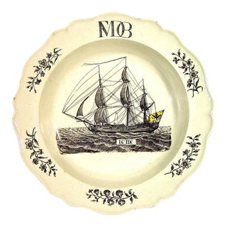 Wedgwood Creamware Soup Plate with German Ship Decoration