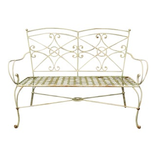 Wrought Iron Metal Hollywood Regency Style Green Garden Bench