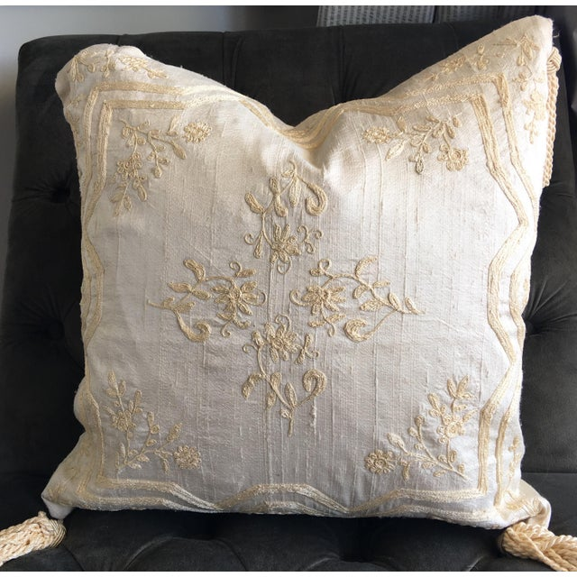 Luxury Raw Silk Embroidered Accent Pillow - Image 2 of 5