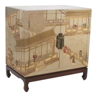 Pair of Maitland-Smith Chinoiserie Decorated Cabinets or Nightstands