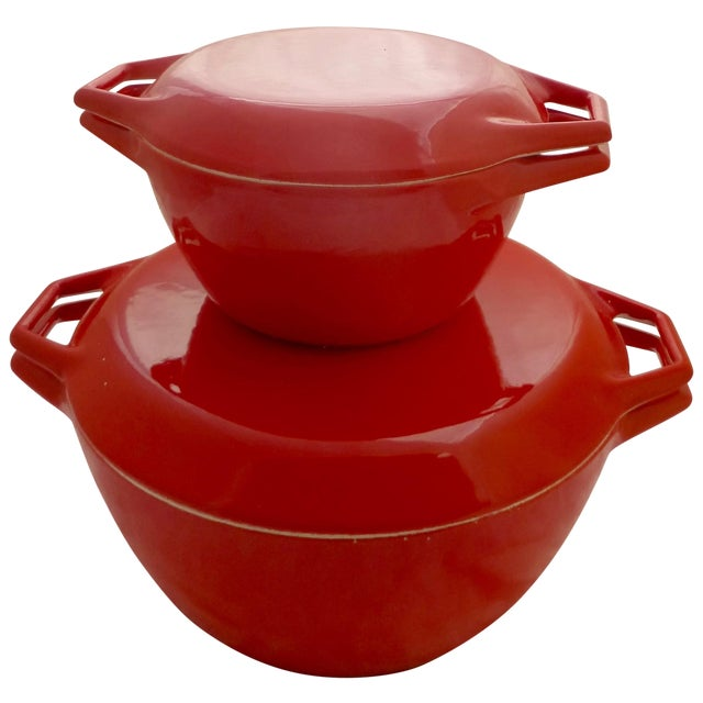 Candy Red Danish Copco Casseroles by Michael Lax - Image 1 of 8
