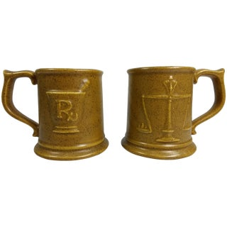 Vintage RX Pharmacy Stoneware Mugs - A Pair