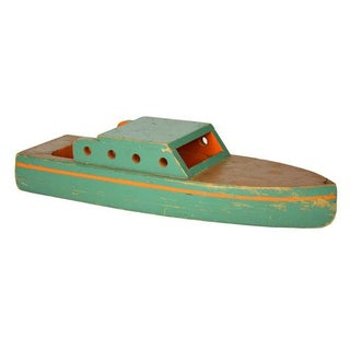 Vintage Green Wooden Toy Boat