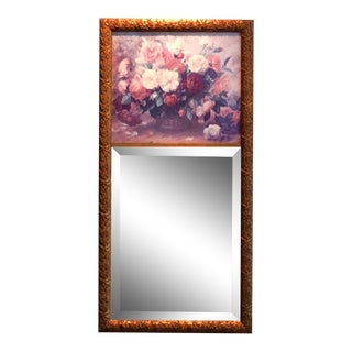 French Flower Print Trumeau Mirror