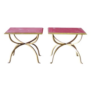 Jonathan Charles Gilt & Eglomised Glass Top Side Tables- A Pair
