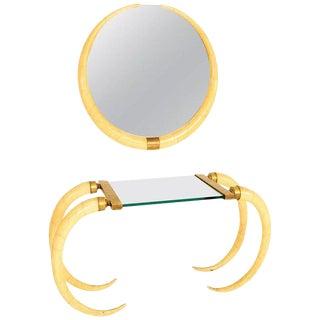 Custom Arturo Pani Console and Mirror in Parchment