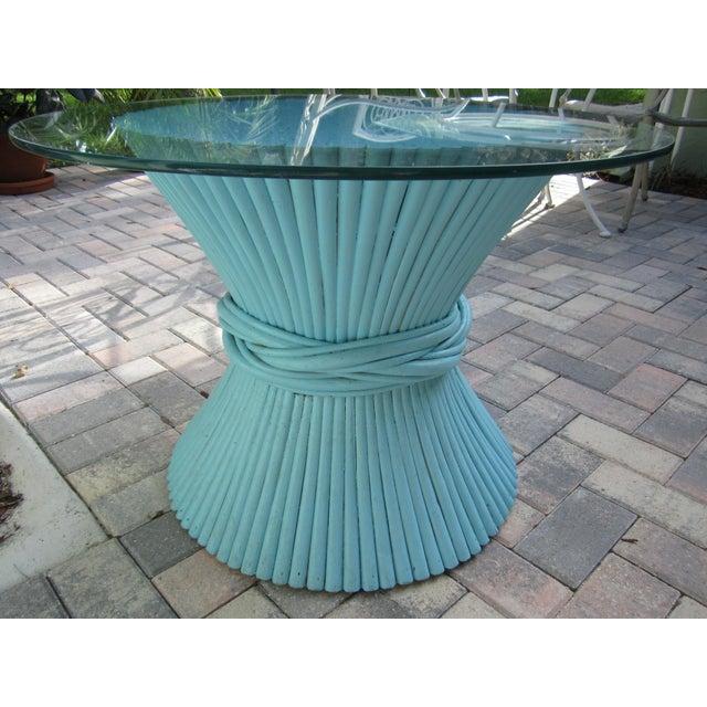 Vintage Sheaf of Wheat Blue Rattan Table Base - Image 7 of 11