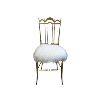 Brass Chiavari Lambs Wool Upholstered Chair