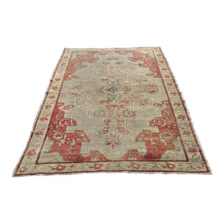 "Distressed Antique Turkish Anatolian Rug - 4'8"" X 6'10"""