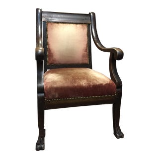 Distressed Red Velvet Accent Chair