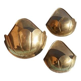 Vintage Brass Wall Pockets - Set of 3