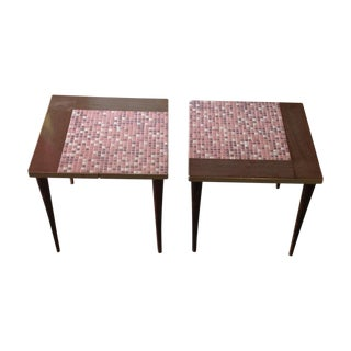 Mid-Century Ceramic Tiled Side Tables - A Pair