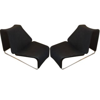 B&B Italia Black Mesh Lounge Chairs - A Pair