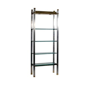 1970s Polished Aluminum and Brass Set of Shelves or Étagere