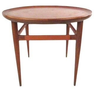 Henredon Mid-Century Modern Leather Top End Table