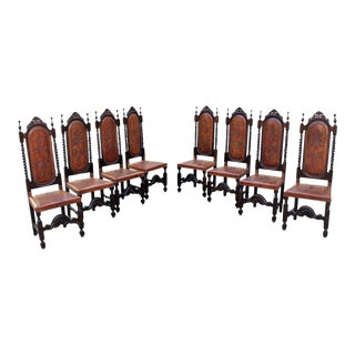 Monumental king Set of Eight 19th Century French Louis Xlll Style Leather Dining Chairs