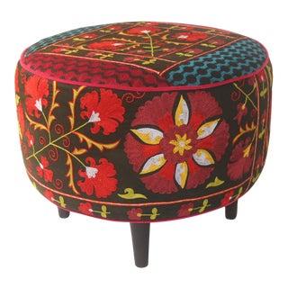 Round Vintage Suzani Ottoman